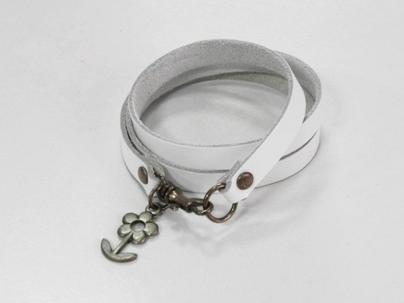 White Leather Bracelet Leather Cuff with Metal Flower Charm