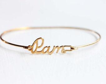 Pam Name Bracelet, Vintage Name Bracelet, Pamela Bracelet, Pam Bracelet, Pam Name, Pam, Gold Name Bracelet, Gold Hook Bracelet, Name Cuff