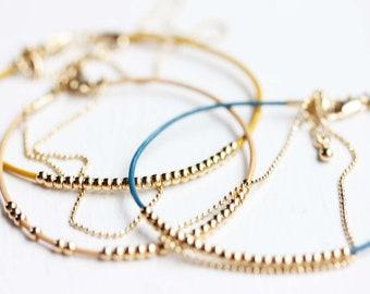 Beaded Bracelet Delicate, Dainty Beaded Bracelet, Leather Bracelet, Thin Beaded Bracelet, Gold Beaded Bracelet, Silver Beaded Bracelet
