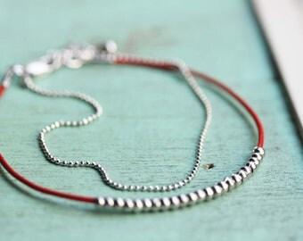 Silver Beaded Bracelet, Delicate Beaded Bracelet, Leather Strand Bracelet, Silver Chain Bracelet, Chain Bracelet, Silver Bracelet