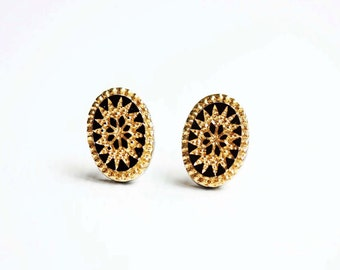 Black and Gold Starburst Earrings