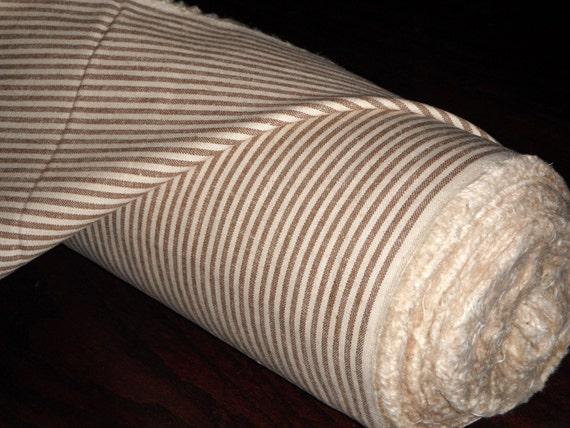 Hemp Organic Cotton Blend Fabric - Brown Stripe - 2 yards, FREE SHIPPING to US, Wholesale Fabric