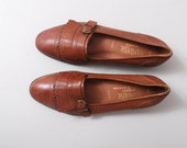 1980s Flats - Brown Leather Kiltie Loafers Size 8.5