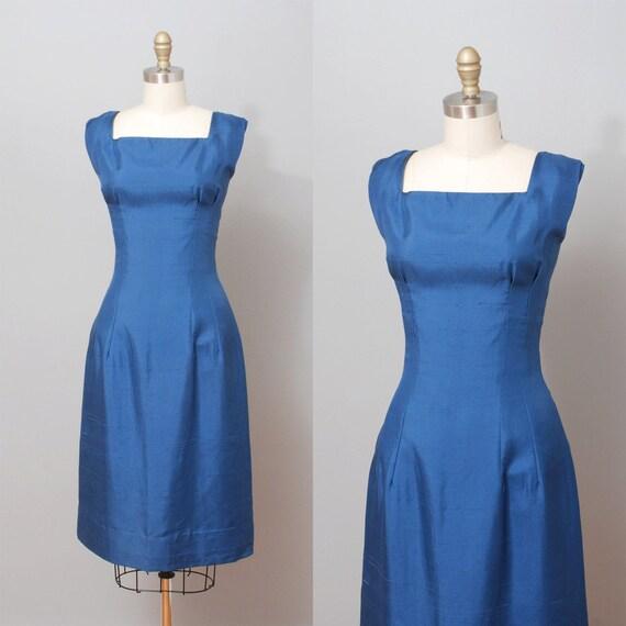 r e s e r v e d 1950s Dress - Sapphire Blue Silk Wiggle Dress