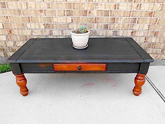 Vintage - Upcycled - Rustic Industrial Farmhouse - Wooden Coffee Table - Drawer - Country CHIC