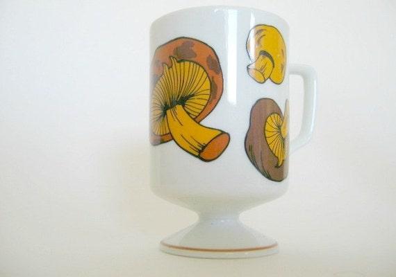 Footed mug with brown Mushrooms- Retro 1970s white tall pedestal mug with brown mushrooms