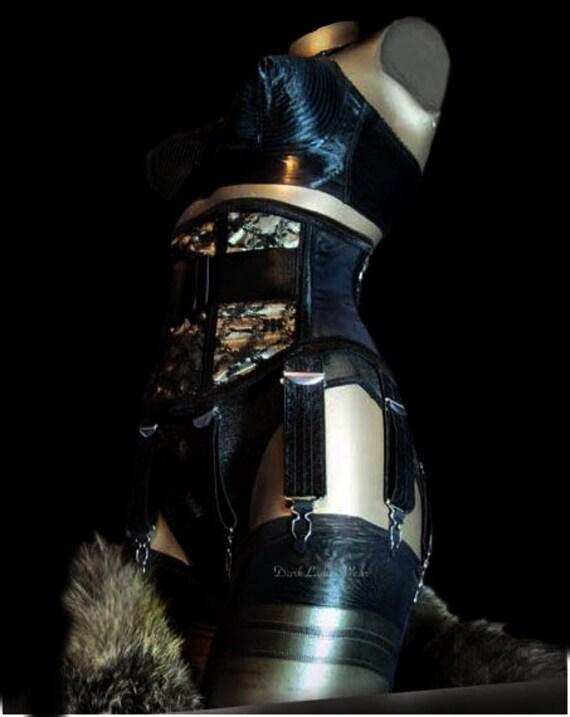 Dark Ladies Wear.....8 Strap  Black Widow Waspie Waist Cincher Corset