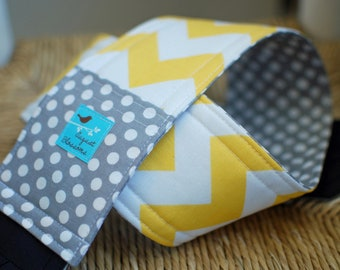 Camera Strap Yellow Chevron and Gray Polka-dot, Reversible, Built in Lens Cap Pocket
