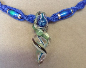 Blue Hemp Macrame Necklace with Celtic Swirl Glass Pendant with Mood Beads