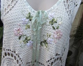 Vintage Kitty.. Lily Hannah...upcycled crochet and ribbon embroidery.. tunic dress..roses, ooak, shabby chic.. Med - XL