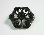 Small Antique Victorian Mourning Pin Brooch French Jet Black Enamel 1880s