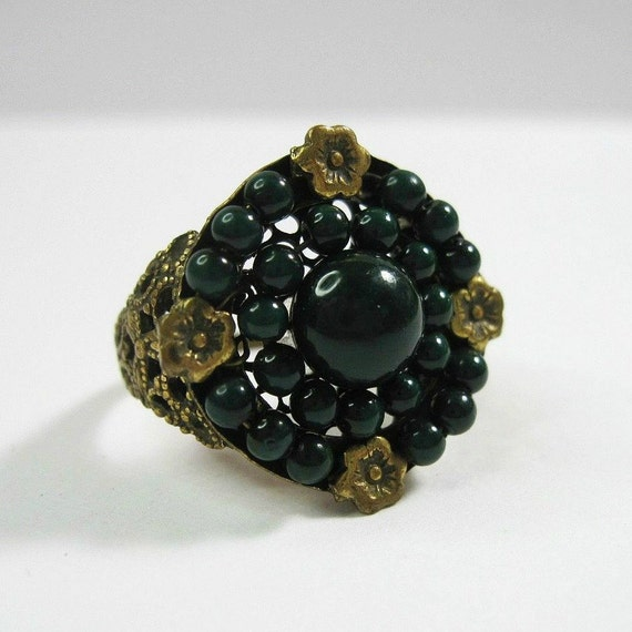 Vintage Art Deco Ring 1920s  Dark Green Celluloid - Flowers - Size 7.75 Costume Ring Cocktail Ring - Boho - Cyber Monday Sale - Coupon Code