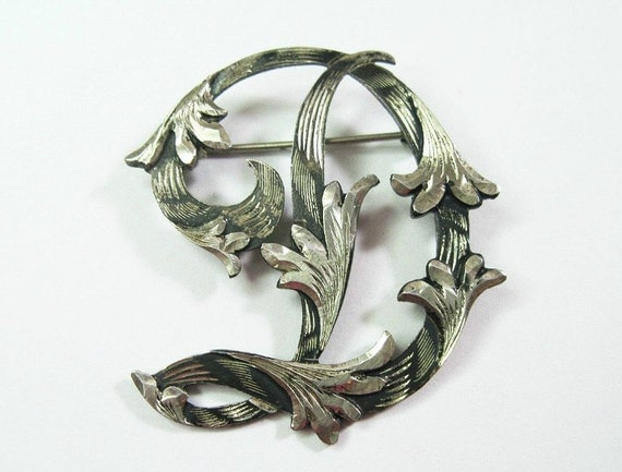 1950s Letter D Vintage Sterling Silver Brooch Pin Mexico Initial Scrolled