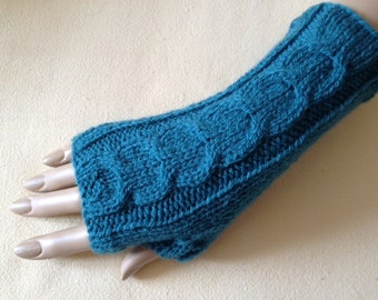 Luxury Hand Knitted Soft Merino Wool Fingerless Gloves/Mittens Arm Wrist Warmers, Teal (Blue/Green Turquoise