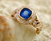 Blue Sapphire Engagement Ring in 14K Rose Gold with Diamonds in a Vintage Style Flower and Leaf on Vine Setting Size 6