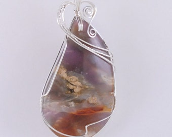 Purple Cow pendant with Sterling Silver wire wrap - P216