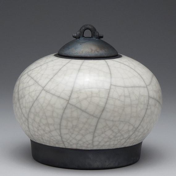 Ceramic jar,Raku  Pottery,Lidded Jar,White and Black clay jar with lid,Raku Jar, art pottery,covered jar