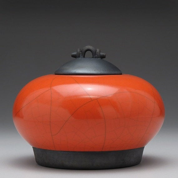 Red Orange ceramic Jar with lid,Raku Fired Covered Jar,handmade jar,art pottery,small urn