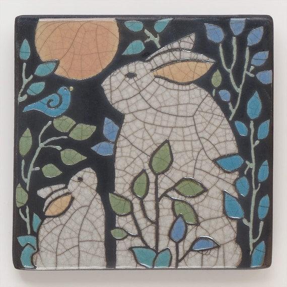 Rabbit, Bunny, Mama and Baby,6x6 raku fired art tile,handmade ceramic tile, home decor