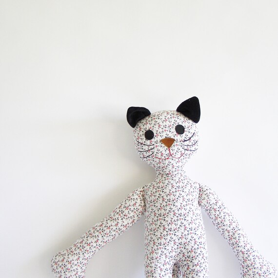 skinny cat - tall floral calico cat - black and white cat - baby safe- gifts for baby, gifts for children, gifts under 25