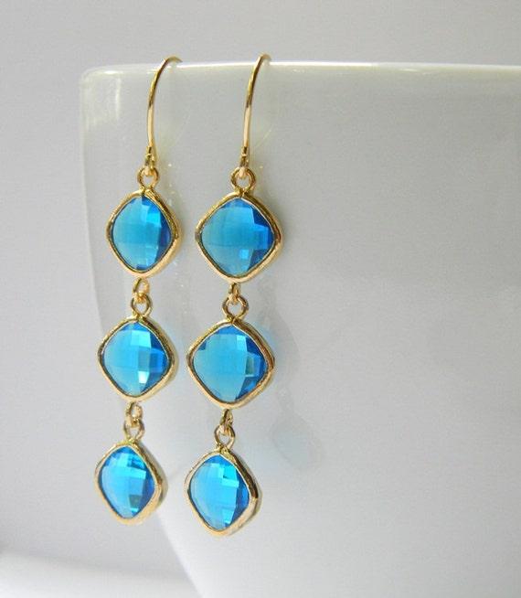Capri Blue Bridesmaid Earrings - Blue Earrings - Gold Earrings - Tri Color Earrings - Bohemian Earrings - Boho Earrings - Gift