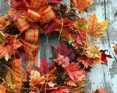 Fall Wreath, Maple Leaves, Pinecones, Plaid Bow