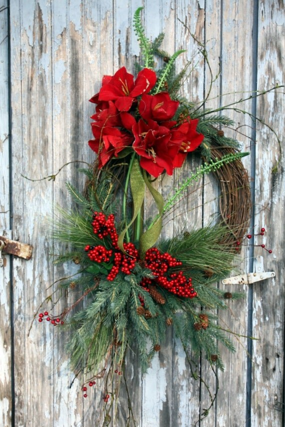Winter Wreath, Red Amaryllis, Mixed Pine, Red Berries