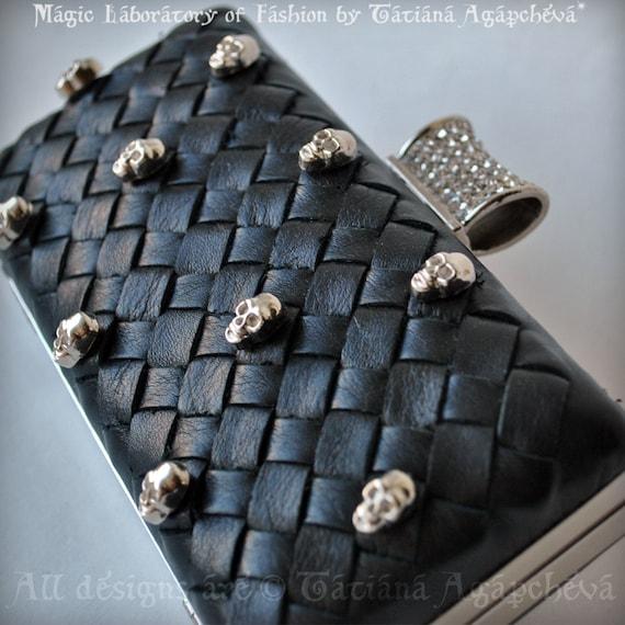 Clearance Clutch, Purse, Bag, Leather Italian Black Lambskin, intrecciato, Luxury, SKULL VENETO TianaCHE