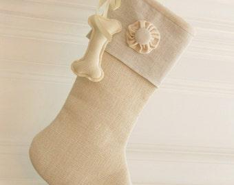Dog Christmas Stocking Linen Burlap Winter White One Button Rosette