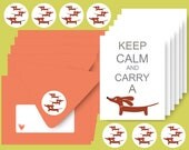 Dachshund Note Cards Set of 6 with Envelopes and Stickers - Keep Calm and Carry a Doxie in Papaya Orange