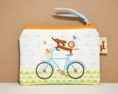 Dachshund Gift - Doxie and Owls Ride a Bicycle in Aqua - Coin Purse Womens Accessory