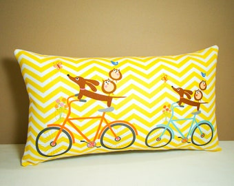 Dachshund Pillow - Doxie and Owls Ride a Bicycle Sunny Chevron - Weiner Dog Decor