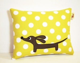 Wiener Dog Dachshund Pillow - Doxie Chartreuse Dot Delight