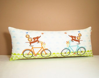 Dachshund Wiener Dog Pillow - Doxie and Owls Ride a Bicycle Whimsy Tube Pillow - Modern Decor