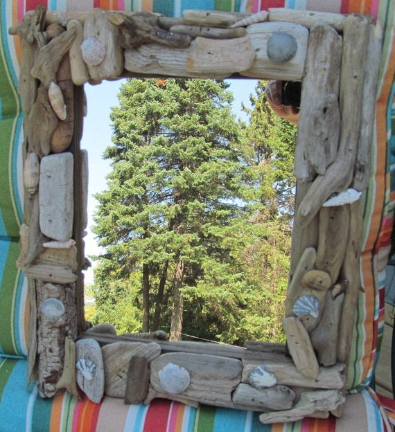 Driftwood and Seashell framed MIRROR upcycled Great Lakes twigs Florida shells beach