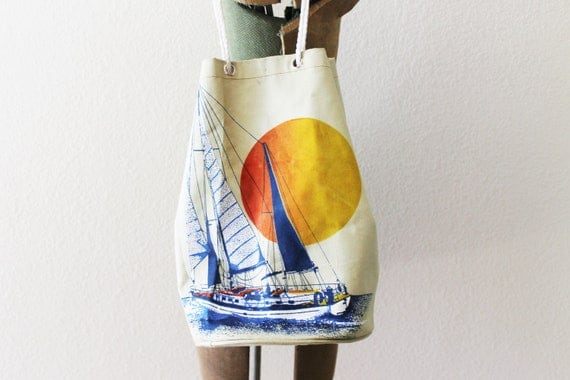 Vintage Novelty Sailboat Bucket Bag