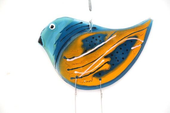 Fused Glass orange  blue Bird Windchime -  Suncatcher -  Summer Collection.