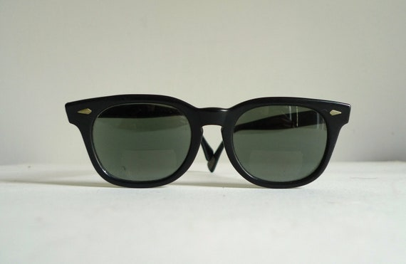 Vintage Black Clubmaster Sunglasses/AO Eyeglasses Frames/ Classic USA Mad Men Era Eyewear