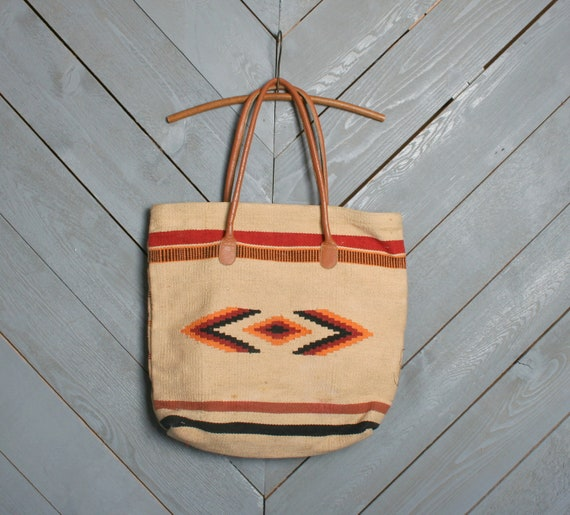 80s NAVAJO BAG / Huge Native Inspired Blanket Tote