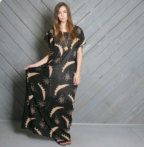 1980s CAFTAN DRESS / Semi-Sheer Black Abstract Print Maxi, osfm