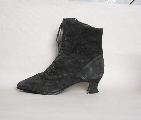 1980s ankle boots black suede witchy by luckyvintageseattle