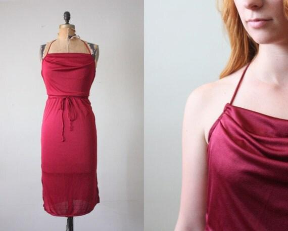 vintage 1970's dress - cranberry halter dress