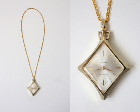 watch necklace - vintage 1970's gold watch pendant