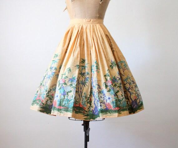 50s novelty print skirt - 1950s skirt - 1950's landscape print circle skirt