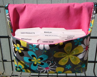 Coupon Organizer /Budget Organizer Holder  / Attaches To You Shopping Cart -  Far Out Floral
