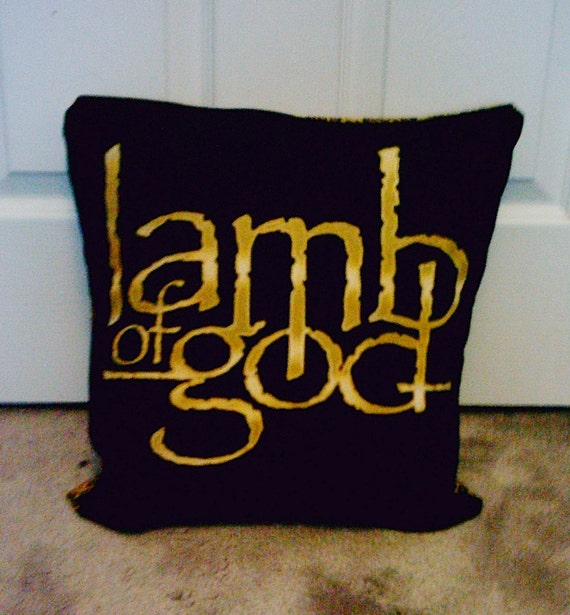 LAMB of GOD Leopard Throw Pillow Cover DIY Pillowcase Metal Band Ooak