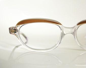Vintage 1950s CAT EYE Eyeglasses RHINESTONE Cateye Glasses Sunglasses 50s Mad Men Indie Sparkle