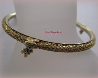 Vintage  Bracelet Gilded Gold   Enchanced with Small Nugget Dangles Vintage Beauty