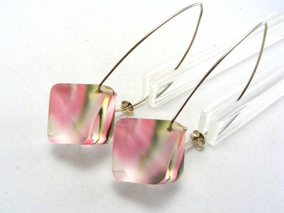 Pink Perspex Earrings, Diamond Shaped Acrylic Drop Earrings, Tulip Abstract Pattern - Handmade Jewelry
