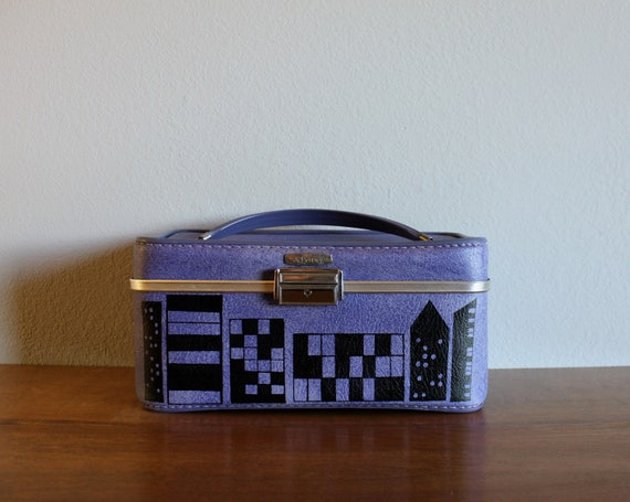 No Sleep Till Brooklyn - VINTAGE purple TRAIN CASE with hand painted city